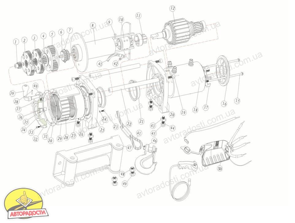 Лебедка автомобильная электрическая T-MAX EW-8500 OFF-ROAD Improved 12В (Китай) .