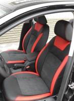 Авточехлы Leather Style для салона Skoda Octavia A5 '05-13, красная строчка, с задним подлокотником (MW Brothers)