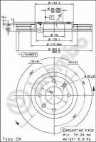 Комплект тормозных дисков BREMBO 09.9619.10 (2 шт.)