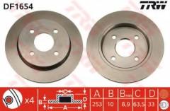 Комплект тормозных дисков TRW DF1654 (2 шт.)
