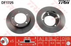 Комплект тормозных дисков TRW DF1725 (2 шт.)