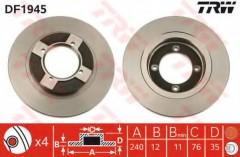 Комплект тормозных дисков TRW DF1945 (2 шт.)