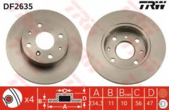 Комплект тормозных дисков TRW DF2635 (2 шт.)