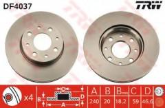 Комплект тормозных дисков TRW DF4037 (2 шт.)