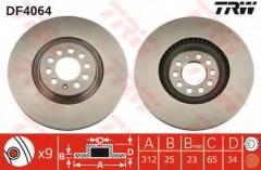 Комплект тормозных дисков TRW DF4064 (2 шт.)