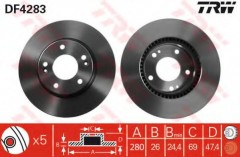 Комплект тормозных дисков TRW DF4283 (2 шт.)