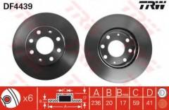 Комплект тормозных дисков TRW DF4439 (2 шт.)