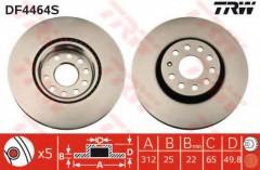 Комплект тормозных дисков TRW DF4464S (2 шт.)