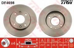 Комплект тормозных дисков TRW DF4698 (2 шт.)