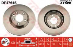 Комплект тормозных дисков TRW DF4764S (2 шт.)