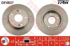 Комплект тормозных дисков TRW DF4837 (2 шт.)