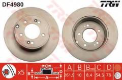 Комплект тормозных дисков TRW DF4980 (2 шт.)