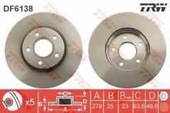Комплект тормозных дисков TRW DF6138 (2 шт.)
