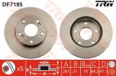 Комплект тормозных дисков TRW DF7195 (2 шт.)