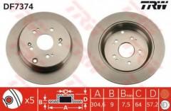 Комплект тормозных дисков TRW DF7374 (2 шт.)
