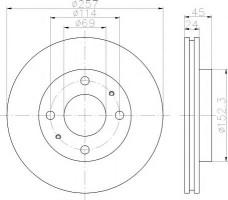 Комплект тормозных дисков TEXTAR 92130800 (2 шт.)