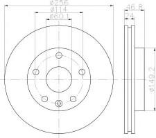 Комплект тормозных дисков TEXTAR 92155600 (2 шт.)
