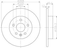 Комплект тормозных дисков TEXTAR 92205503 (2 шт.)