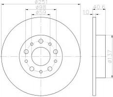 Комплект тормозных дисков TEXTAR 92244303 (2 шт.)