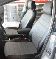 Авточехлы из экокожи S-LINE для салона Volkswagen Polo '10- седан, с деленой спинкой, серая вставка (AVTO-MANIA)