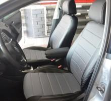 Авточехлы из экокожи X-LINE для салона Volkswagen Polo '10- седан, с деленой спинкой, серая вставка (AVTO-MANIA)