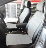 Авточехлы из экокожи S-LINE для салона Volkswagen Polo '10- седан, с деленой спинкой, белая вставка (AVTO-MANIA)