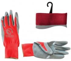 """Перчатки красные синтетические, покрытые серым нитрилом 10"""" SP-0124 (Intertool)"""