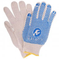 """Перчатки белые хлопчатобумажные, с резиновым вкраплением 10"""" SP-0134 (Intertool)"""