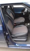 Авточехлы Premium для салона Skoda Fabia II '07-14 красная строчка, с деленой спинкой (MW Brothers)