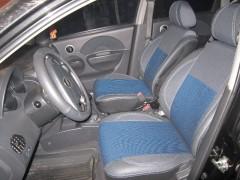 Фото 5 - Авточехлы Premium для салона Chevrolet Aveo '04-11, седан синяя строчка (MW Brothers)