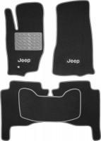 Коврики в салон для Jeep Grand Cherokee '04-10 текстильные, серые (Люкс)