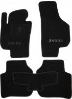 Коврики в салон для Skoda Superb '09-14 текстильные, черные (Премиум)