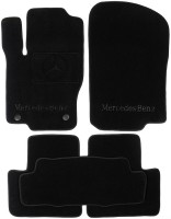 Коврики в салон для Mercedes ML-Class W166 '11- текстильные, черные (Премиум) 2 клипсы