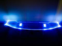 Задний спойлер на багажник универсальный, оргстекло/LED mul, прозрачный (Витол)