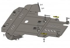 Защита картера двигателя и КПП, радиатора для Volkswagen Passat B5 '97-05, V-1.6i;1.8i;1.8T;2.0i;1.9TDI, АКПП/МКПП (Кольчуга)