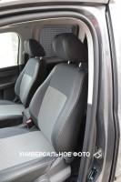 Авточехлы Premium для салона Volkswagen Transporter T5 '03-09 (1+1) серая строчка (MW Brothers)