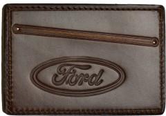 "Обложка для прав/тех.паспорта темно-коричневая ""Ford"""