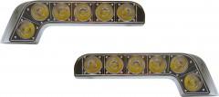 Дневные ходовые огни универсальные SKD-017 линзованные, с функцией поворотов и притухания