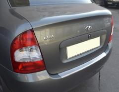 NataNiko Накладка с загибом на бампер для Lada (Ваз) Калина 1118 '04-13 Седан (Premium)