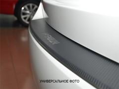 Накладка с загибом на бампер карбон для Skoda Yeti '13- (Premium+k)