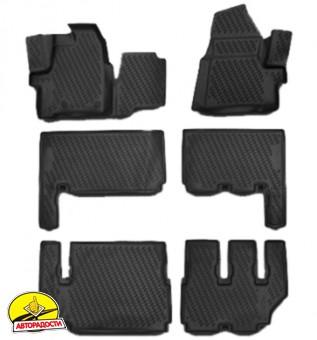 Коврики в салон 3D для Ford Tourneo Custom  '13- полиуретановые (Novline) 9 мест