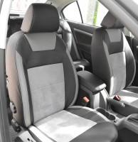 Авточехлы Leather Style для салона Skoda Octavia A5 '05-13, серая строчка, с задним подлокотником (MW Brothers)