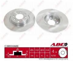 Комплект передних тормозных дисков ABE C3R034ABE (2 шт.)