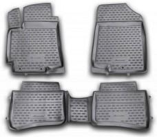 Коврики в салон для Kia Rio '11-15 полиуретановые, черные (Novline / Element)