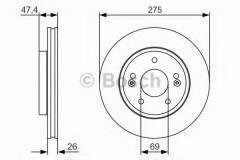 Комплект тормозных дисков BOSCH 0 986 479 R26 (2 шт.)