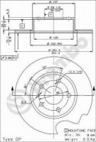 Комплект тормозных дисков BREMBO 08.3126.21 (2 шт.)