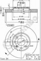 Комплект тормозных дисков BREMBO 09.7628.14 (2 шт.)