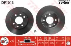 Комплект тормозных дисков TRW DF1013 (2 шт.)