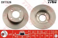 Комплект тормозных дисков TRW DF1526 (2 шт.)