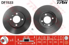 Комплект тормозных дисков TRW DF1533 (2 шт.)